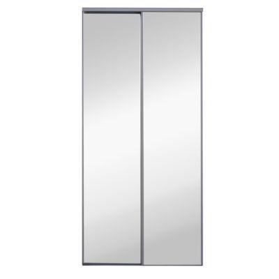 2 Portes De Placard Coulissantes Miroir Grises 120 X 250 Cm En 2020 Placard Coulissant Portes De Placard Coulissantes Miroir Et Porte Placard Coulissante