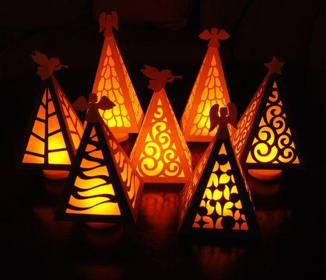 Christmas Tree Luminary Digital Cutting Files - SVG, PDF, KNK. $5.00, via Etsy.