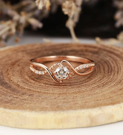 Art deco engagement ring Vintage antique moissanite halo diamond rose gold Unique wedding women Jewelry birthstone Anniversary gift for her - engagement rings Vintage Engagement Rings, Diamond Engagement Rings, Engagement Ring Settings, Art Deco Engagement Rings, Solitaire Engagement, Unique Wedding Bands, Diamond Wedding Bands, Halo Diamond, Diamond Studs
