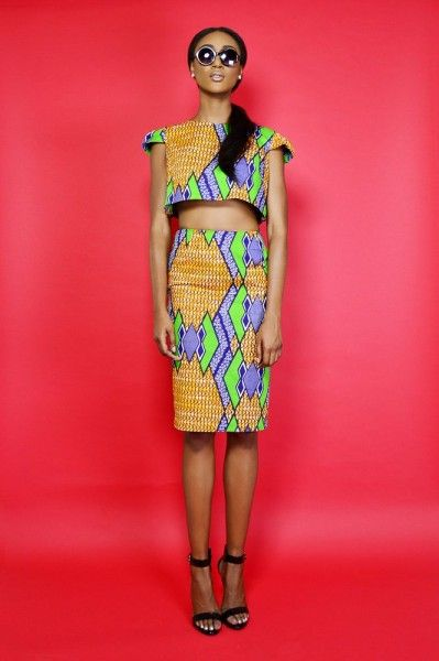 Nice design and bright colors. VG Designers: Danielle and Chantelle Dwomoh-Piper Spring/Summer 2014 Collection Photographer:George Legare Mua/Hairstylist:Richard Lomax Model:Marsha Larose .