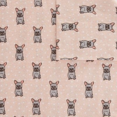 Flannel Sheet Set Full 4pc Pink French Bulldog 100 Thread Count