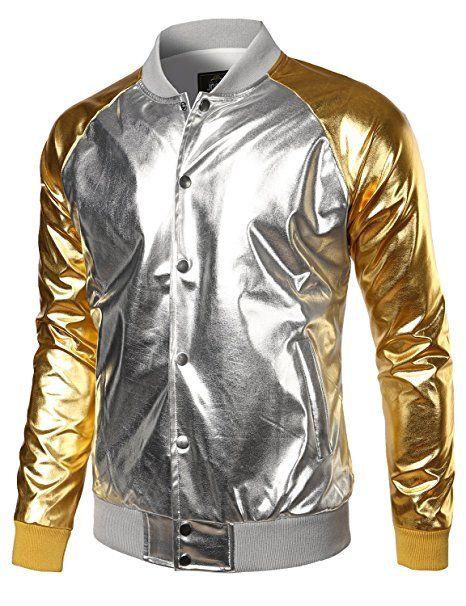 white pants bag Popart t-shirt gold bomber jacket