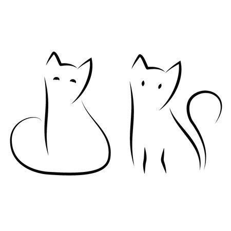 Einfache Und Minimale Zeichnung Mit Katzentinte Zwei Sitzende Katzen In Traditioneller Strichzeichnung Kunst Tuschezeichnungen Zeichnung