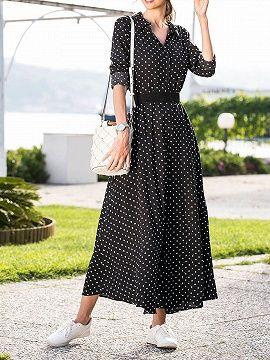 eddf9a69e7714 Shop Black Cotton Polka Dot Print Tie Waist Long Sleeve Women Maxi Dress  from choies.com .Free shipping Worldwide.$22.99