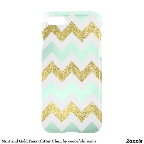 Mint and Gold Faux Glitter Chevron iPhone 7 Case