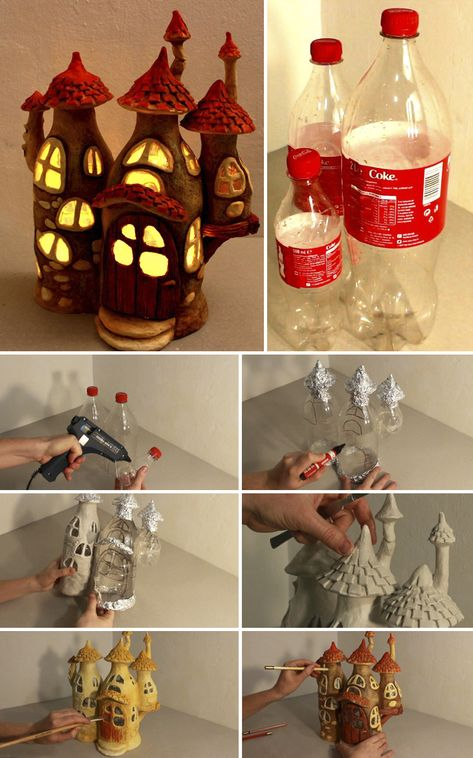 I recycled some Coke plastic bottles into a fairy house lamp. Materials used: plastic bottles, tin foil, paint, hot glue and paper clay. Have fun! plastic bottle garden Recycling Some Plastic Bottles Into A Fairy House Lamp Clay Fairy House, Fairy Garden Houses, Fairies Garden, Fairy Houses Kids, Gnome House, Gnome Garden, Plastic Bottle Crafts, Plastic Recycling, Diy With Plastic Bottles
