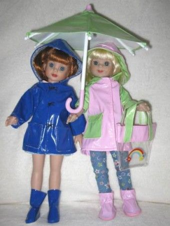 """Linda Lenhardt's Janette and Barbara: """"All dressed and ready for a rainy day.  I made the blue raincoat and boots.  Lucky find on the rest."""" #dolls on dollduels.com"""