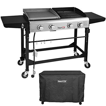 Royal Gourmet Portable Propane Gas Grill And Griddle Combo 4 Burner Griddle Flat Top Folding Legs Versatile Outdoor Propane Gas Grill Gas Grill Camping Stove