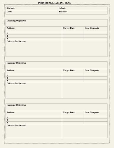 Personal Learning Plan Template Beautiful Individual Learning Plan Template By Moedo Individual Education Plan Personalized Learning Plan Personalized Learning