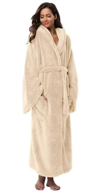Men Soft Cozy Nightwear Sleepwear Flannel Coral Pajama Gown  Thick Warm Bathrobe