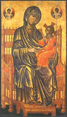 """One of the most admired Byzantine paintings, the late 13th century Virgin and Child known as the Kahn Madonna (National Gallery of Art, Washington). The work is said to reflect the Italian influence being felt in the Byzantine world at this time."""