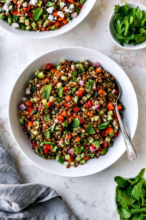 Lentil Salad {Easy & Healthy} - Two Peas & Their Pod
