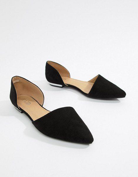 Raid Amy Black Two Part Flat Shoes