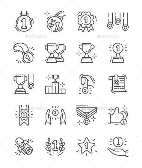 Awards and Trophies Line Icons by PalauDesign | GraphicRiver