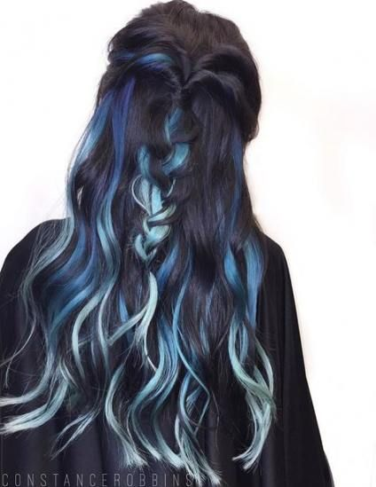 68 Ideas Hair Dyed Blue Tips For 2019 Blue Hair Highlights Colored Hair Tips Hair Styles