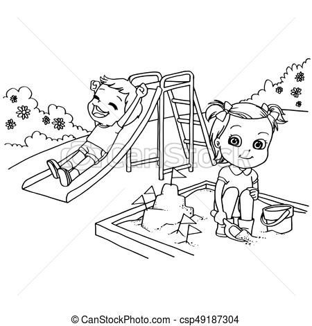 Kids At The Playground Cartoon Coloring Page Vector Throughout