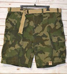 Foundry Men/'s Shorts Cargo Plus Size 52W Camouflage White /& Gray with Belt Flex