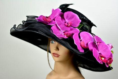 40c641045684c Black Woman Organza Orchids Hat Church Wedding Hat Head Piece Kentucky  Derby Hat Bridal Coctail Hat