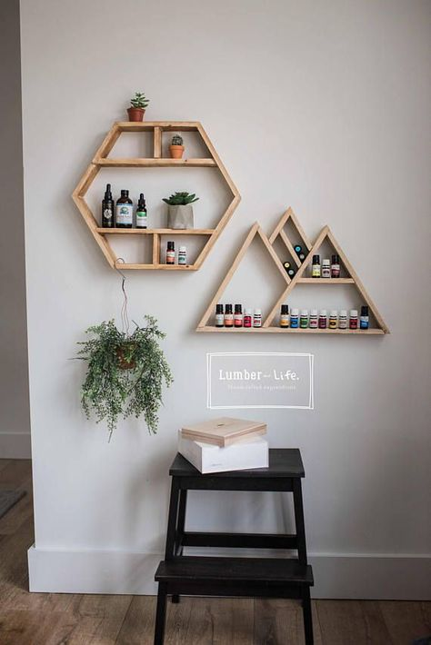 Crafted of solid wood handmade wooden shelves are made from re-purposed wood, each piece unique and going to stain a little differently some will have knots while others dont. A stylish yet functional way to store your essential oils & other home decor the clean lines of our shelving