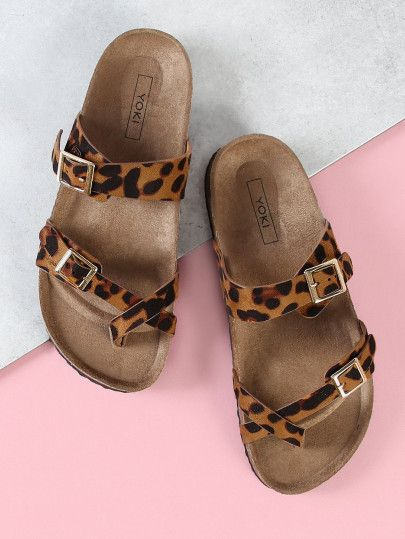 Shop Leopard Print Cross Strap Cork Footbed Sandal Online Shein Offers Leopard Print Cross Strap Cork Footbed San Cork Footbed Sandals Footbed Sandals Sandals