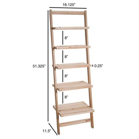 Lavish Home 5 Tier Ladder Shelf Blonde Finish Walmart Com Ladder Storage Ladder Bookcase Ladder Shelf Diy