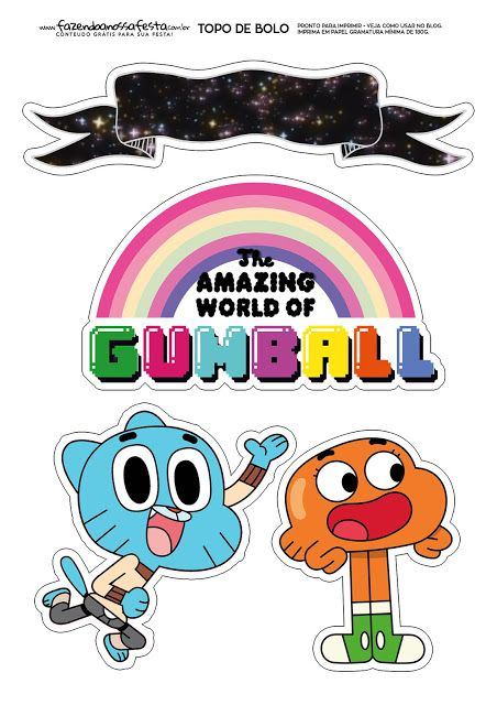 Gumball Free Printable Cake Toppers Con Imagenes Gumball