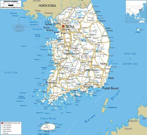 korea Description The Physical Map of South Korea showing major