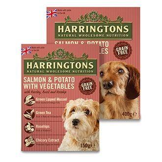 Harringtons Wet Salmon Potato Dog Food Trays 7 X 150g