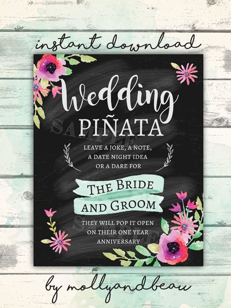 Wedding Pinata Pinata Sign Wedding Pinata For The Bride And Groom Chalkboard Wedd Wedding Chalkboard Signs Wedding Pinata Chalkboard Wedding Signs Reception