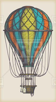 Retro colored hot air balloon, 111659, download royalty-free vector clipart (EPS) #hot air balloon #airship #rfclipart #vector