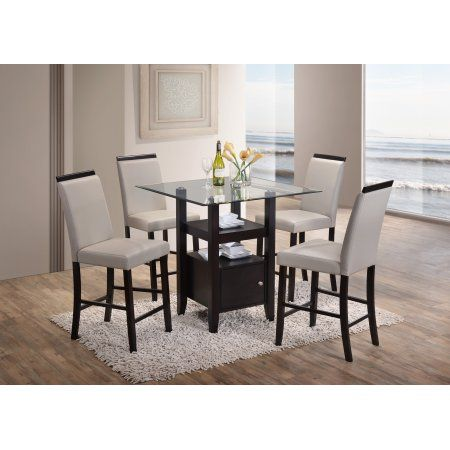 Lenn 5 Piece Counter Height Dining Set 35 Square Transitional Cappuccino Table With Beveled Glass Top 4 Gray Chairs Walmart Com Dining Table With Storage Dining Table In Kitchen Dining Chair Set