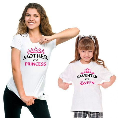 Mother of proncess and Daughter of queen T-shirt set