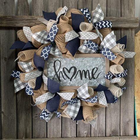 Home Wreath- Navy Burlap Wreath - Everyday Farmhouse Wreath - All Seasons Wreath - Home Sign Burlap Wreath - Front Door Decor, #Burlap #Decor #Door #Everyday #Farmhouse #Front #Home #Navy #Seasons #Sign #Wreath