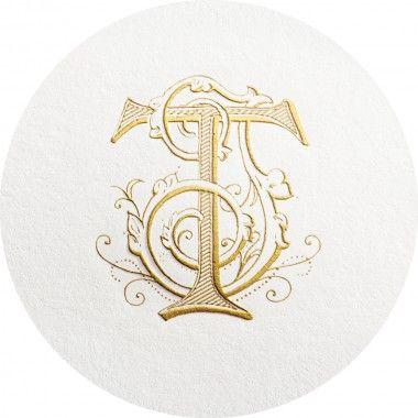 T And J Designs.Gold Engraved Monogram Initials T And J Monogram Design