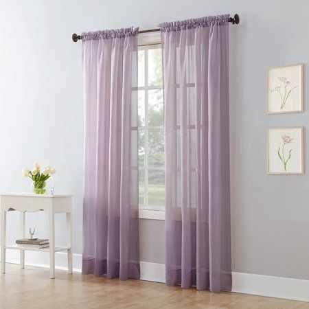 Mainstays Marjorie Sheer Voile Curtain Panel Walmart Com In 2020 Voile Curtains Purple Home Offices Purple Sheer Curtains