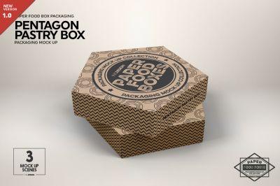 Download Pentagon Pastry Box Mockup Psd Mockup Template Design Mockup Free Packaging Mockup Box Mockup