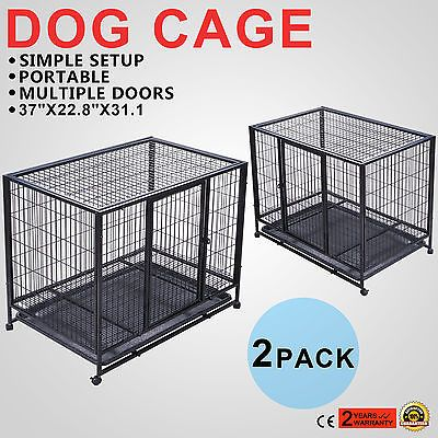 2 PACK 37 DOG CRATE KENNEL PET CAGE CARRIER W/WHEELS PUPPY GUARD 2 DOOR ON SALE