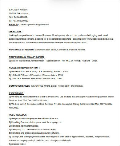 Sample Hr Executive Resume 7 Examples In Word Pdf Executive Resume Template Executive Resume Resume Templates