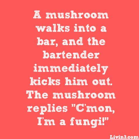 "A mushroom walks into a bat, and the bartender immediately kicks him out.  The mushroom replies, ""C'mon, I'm a fungi!"" #joke"