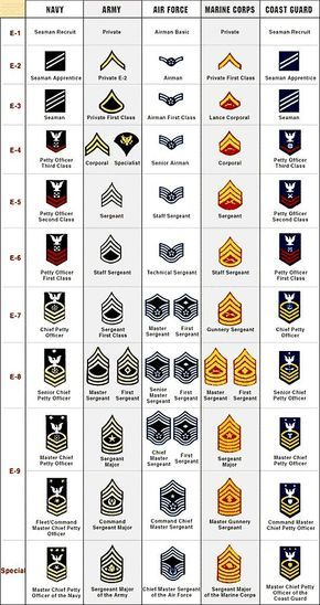 United States Military Rank Structure for the Air Force, Army, Marines, Navy, National Guard and Coast Guard Insignia - Military Rank Military Humor, Military Love, Military Personnel, Military Spouse, Military Service, Military History, Military Girlfriend, Military Recruiting, Air Force Girlfriend