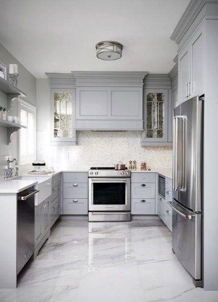 23 White Kitchens Without Wood Floors Down Leah S Lane Grey Kitchen Floor Kitchen Cabinet Design Best Flooring For Kitchen
