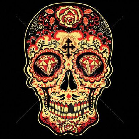 Womans LONG SLEEVE T Shirt Red Sugar Skull by firelandsteeshirts