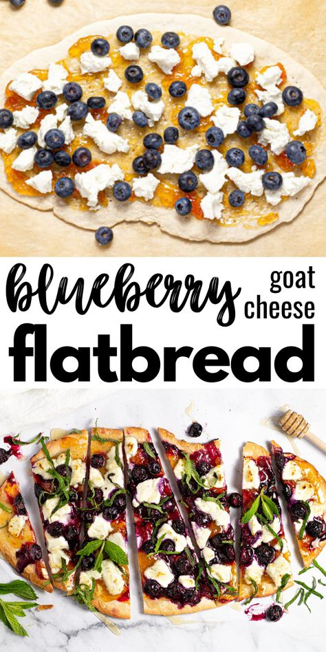 This delicious fruit-forward blueberry flatbread is loaded with apricot jam, creamy goat cheese, sweet honey, and fresh mint. It's the perfect vegetarian appetizer or dessert to use up those fresh, ripe blueberries this summer!