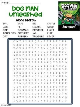 A Word Search To Go With The Funny Book Dog Man Unleashed By Dav Pilkey Dog Man Book Dog Man Unleashed Dav Pilkey Dog Man