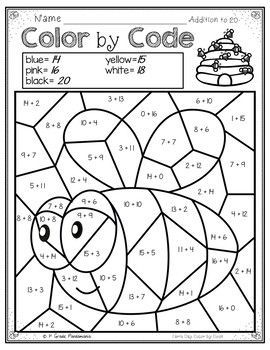 Color By Code Math Activities For Earth Day Grades 1 2 Practice 1st And 2nd Grade Math Addition And Math Activities Third Grade Activities 1st Grade Activities