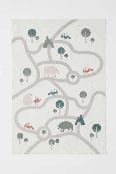 Cotton Rug With Printed Motif White