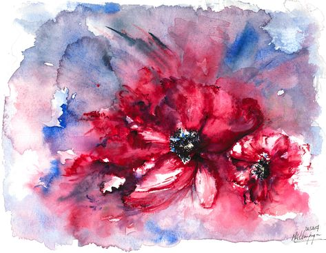 Red Blooms Charpagne Gallery Original Watercolor Paintings By