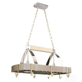 Style Selections 2 Light Brushed Nickel Chrome Lighted Pot Rack  This is  definately going over my island in my new kitchen  Want to hang my Calphal Style Selections 2 Light Brushed Nickel Chrome Lighted Pot Rack  . Lowes Hanging Pot Rack With Lights. Home Design Ideas
