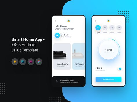 Smart Home App -  iOS & Android UI Kit Template | Search by Muzli