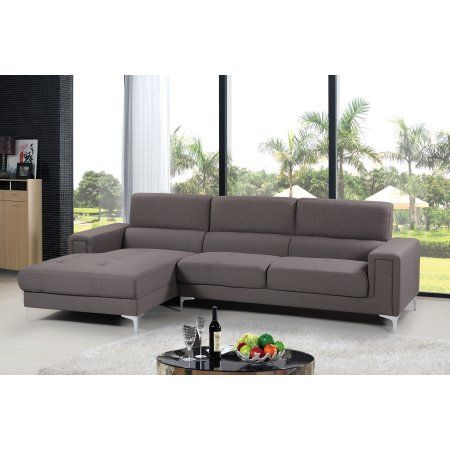 Audrey Contemporary Woven Fabric Upholstered 2 Pc Left Facing Sectional Sofa Grey Walmart Com Leather Sectional Sofas Furniture Grey Sectional Sofa